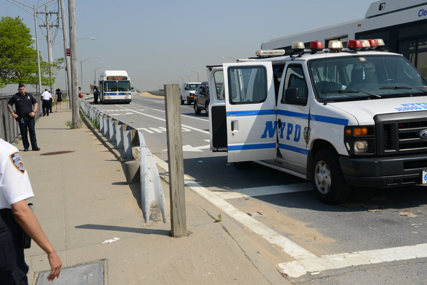 NYPD officers stopped every Q52 and Q53 bus Wednesday morning as they entered Broad Channel to sweep them for students.