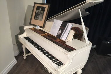 The baby grand piano owned by Duke Ellington, which he composed many of his hits, on display for auction at The National Jazz Museum in Harlem, May 17 2016.