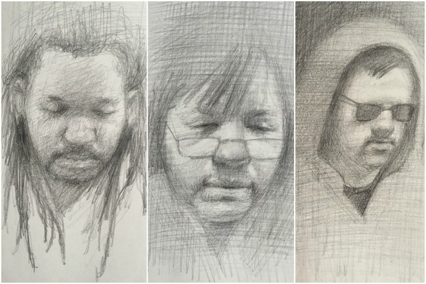 "Artist Robin Kappy's ""Between Stops: An Exhibition of Subway Portrait Sketches"" will be on display in Chelsea until June 4."