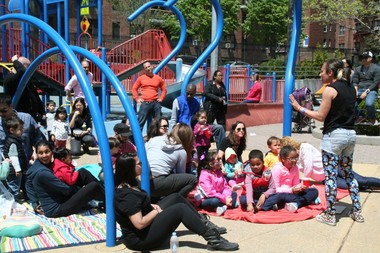 The organizers behind the Queens Bookshop have hosted multiple events throughout Queens, including this one at a local playground.