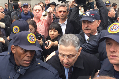 Former Assembly Speaker Sheldon Silver exited the court after being sentenced to 12 years in federal prison on May 3, 2016.