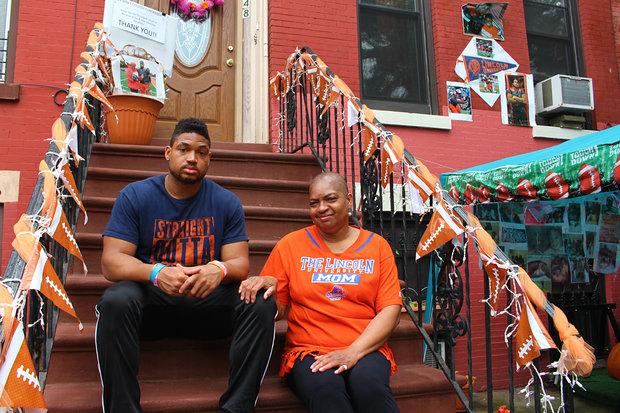 Lance Felder And His Mother Shiretta Felton Sit Outside Their Halsey Street Home