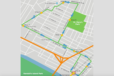 The free shuttle bus to the Randall's Island Connector will run hourly on Saturdays and Sundays starting at Walnut Avenue and E. 136th Street.
