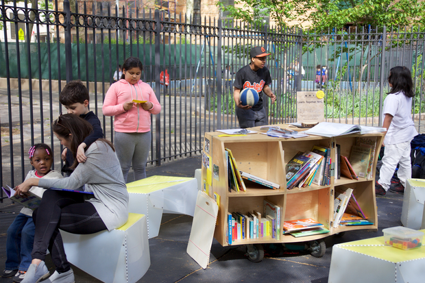 The Uni Project brings carts filled with books and activities to public spaces throughout the city.