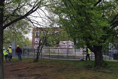 The city has started restoring a fountain and constructing a plaza to commemorate the women of Queens in a Kew Gardens, according to the borough president's office.