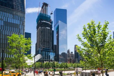 A part of a crane crashed into Three World Trade Center, slated for completion in 2018.