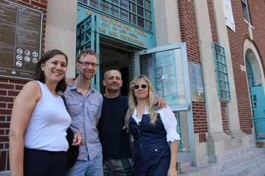 Non-Orthodox swimmers feel that their rights to use the Williamsburg public rec center pool have been infringed upon because of a women-only swim time for Hasidic women. (from left to right) Catherine Fukushima, James Sheenan, Doug Safranek and Jennifer Kuipers