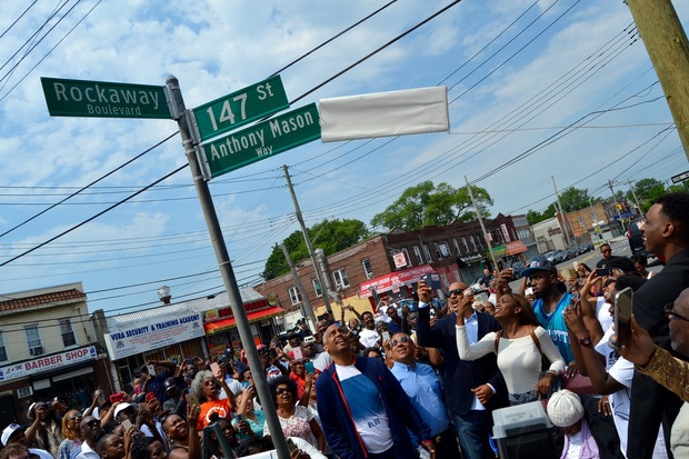 """A stretch of 147th Street, between 123rd Avenueand Rockaway Boulevard, was co-named """"Anthony Mason Way."""""""