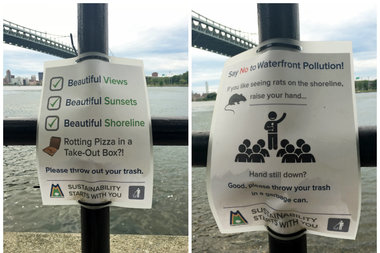Astoria Park Alliance hung the posters to encourage park-goers to properly dispose of their trash.