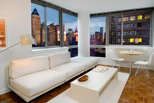 This two-bedroom penthouse at the Avalon Clinton, 515 West 52nd St., is listed for $7,241 a month by Douglas Elliman.
