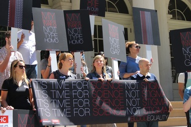 Advocates took to the steps of City Hall to protest the FDA's current blood donation policies.