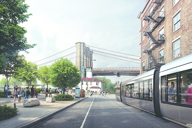 A rendering of the Brooklyn-Queens Connector (BQX) running along Furman Street in DUMBO.