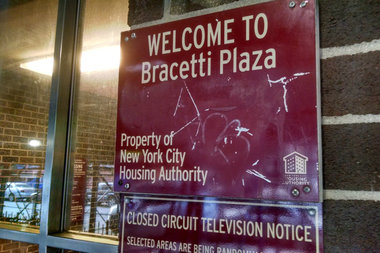 A man was shot in a fight near the Bracetti Plaza houses, police said.