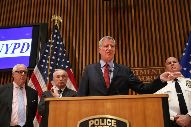 New York City Mayor Bill de Blasio is joined by Police Commissioner William Bratton at a news conference where the two spoke about a 'table-top' emergecny drill following attacks in the Belgium capital of Brussels last week on March 28, 2016 in New York City. Following those attacks and unspecified recent threats against the country's largest city, the NYPD has been working with other agencies to keep officers trained and educated on the developing nature of terrorists threats.