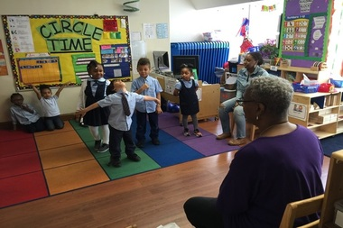 A pre-K class at Round The Clock Nursery in Harlem where there are two scholarship recipients.