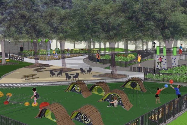 A design scheme for a renovation of Lincoln Terrace Park playground show new play equipment, water features and plantings in the Crown Heights park.