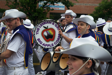 The Lesbian and Gay Big Apple Corps marches on 37th Avenue during the Queens Pride Parade on Sunday, June 5, 2016.