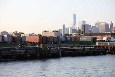 The view of the former sugar factory site, as seen from the Ikea park, in Red Hook.