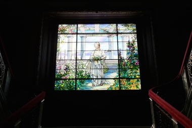 An example of a stained glass window by Louis Comfort Tiffany. A burglar broke a Tiffany window in a Park Slope townhouse during an attempted break-in on May 23, according to a police report.