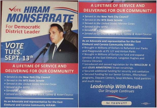 Hiram Monserrate has sent out fliers around East Elmhurst and Corona for his September election.