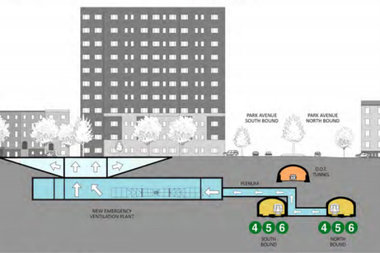 A rendering shows one possible location for an emergency ventilation plant underneath East 37th Street between Park and Madison avenues.