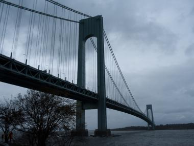 A four-car crash on the Brooklyn-bound upper level of the Verrazano Bridge left nine people hurt, including one person in critical condition, the FDNY said.