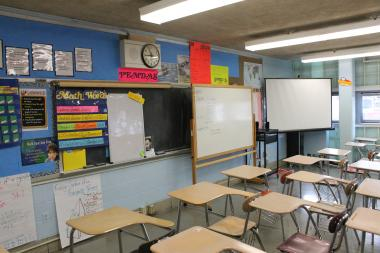 An empty classroom at a Manhattan high school