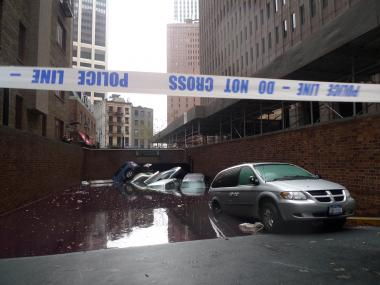 Cars were submerged when an underground parking garage near Hanover Square in Lower Manhattan was flooded during Hurricane Sandy in 2012.