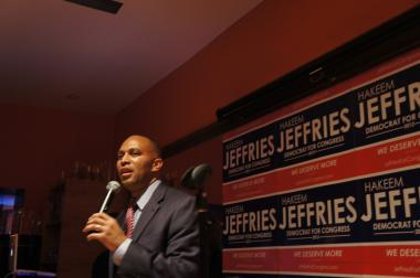 Rep. Hakeem Jeffries, pictured here after winning the 2012 primary, called on Eric Holder to investigate stop-and-frisk.