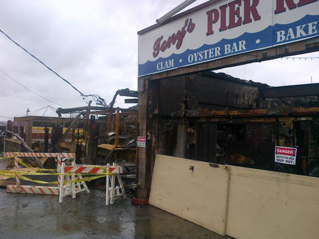 A fire destroyed Tony's Pier Restaurant on City Island on Monday, Oct. 29, during the onslaught of Hurricane Sandy.
