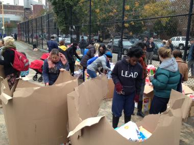 Hundreds of residents in areas with power outages received food supplied by FEMA after Hurricane Sandy.