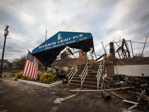 Photographs taken on November 1, 2012 of the Harbor Light Pub in the aftermath of Hurricane Sandy.