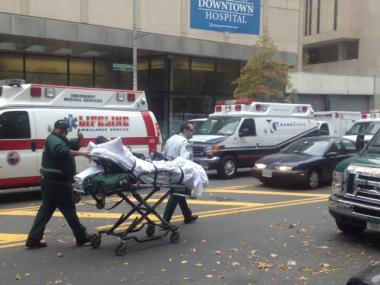 Two hospitals were evacuated ahead of Hurricane Sandy on Oct. 29, 2012.