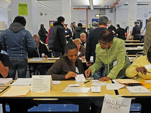 Voters turned out on Nov. 6, 2012, despite the destruction after Hurricane Sandy.