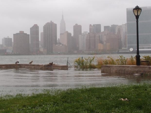 Portions of the popular Gantry Plaza State Park in Long Island City were under water Monday.