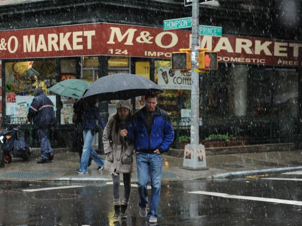 It was the first snow fall of the year as a nor'easter hit New York on Wednesday.