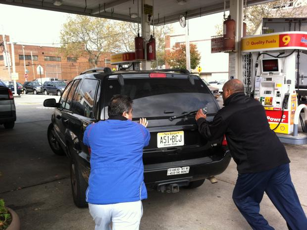 Hundreds of cars stretched in every direction from gas stations around New York City Thursday morning, Nov. 1, 2012.