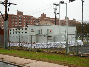 A power facility in Far Rockaway is protected by sandbags on Monday October 29th, 2012.