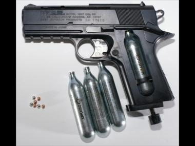 An attacker used a BB gun to mug a man walking through Isham Park in Inwood. This BB gun shoots pellets propelled by CO2.