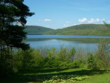 The Cannonsville Reservoir in Delaware County supplies the majority of the drinking water for New York City. It is one of several watersheds that could be harmed by gas drilling in the Catskills.