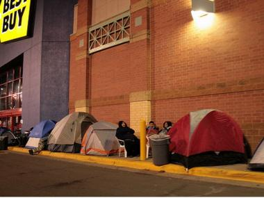 Shoppers lined up Thanksgiving night, 2008, for a crack at Black Friday sales.