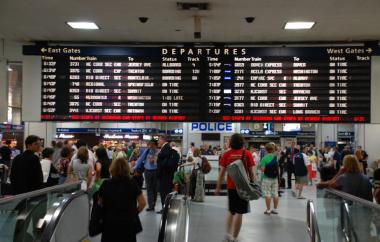 A man was stabbed inside Penn Station on Friday morning, fire officials said.