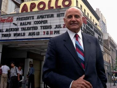 Percy Sutton, who rescued the Apollo Theater in New York City from extinction, poses under the Marquee in this July, 1991 file photo.  He died Saturday Dec. 26, 2009 at age 89.