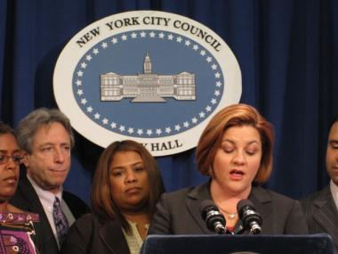 Speaker Christine Quinn speaks at a press conference after City Council voted to modify a rezoning plan to include affordable housing.