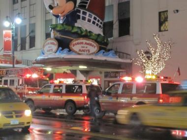 FDNY vehicles surrounded Macy's on Sunday when a fire broke out on an escalator between the third and fourth floors.