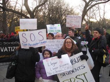 Hundreds of protesters marched from Central Park to Mayor Michael Bloomberg's block on Thursday to demonstrate against the mayor's education policies.