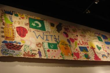 Children sent this banner and thousands of other notes, drawings and cards to firefighters after the 9/11 attacks.
