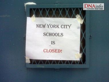 The sign at P.S. 9 on the Upper West Side shows that schools