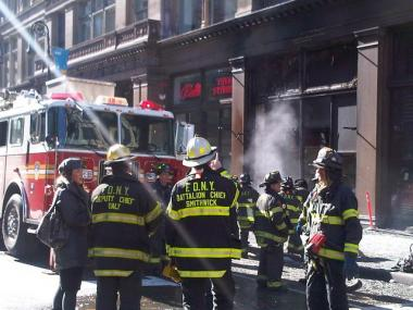 Firefighters at the scene of a transformer explosion at 641 Sixth Avenue, Thursday.