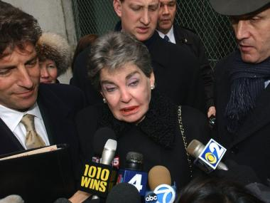 Leona Helmsley speaks to the press in 2003, after a former assistant accused her of firing him because he was gay.